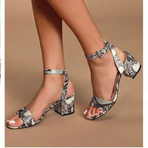 Black and White Snake Ankle Strap Heels